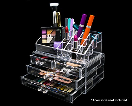 Novel Box Ultra Clear Acrylic Cosmetic & Jewelry 2-Piece Storage Organizer (Rectangular Top + 4 Drawers) (Mess Up Your Lipstick Not Your Mascara)