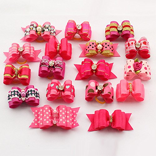 Roto - 60 Pcs/set Girl Pattern Handmade Doggie Accessories Bows for Dog Salon Dogs Bows Show Supplies Wholesale (Pink Rose) Wholesale Dog Grooming Supplies