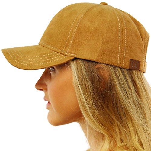 (Everyday Faux Suede 6 Panel Solid Suede Baseball Adjustable Cap Hat Camel)