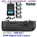 Kastar Pro Multi-Power Vertical Battery Grip (Replacement for MB-D17) + 4x EN-EL15 Replacement Batteries + Ultra Fast Charger Kit for Nikon D500 Digital SLR Camera