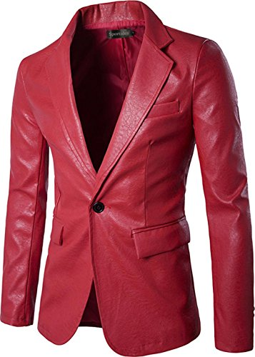 (Sportides Mens Faux Leather Slim Fit One Button Blazer Jacket JZA004 Red)