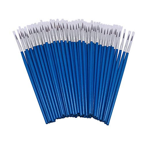 [60 Pack]Pointed Round Painting Brush,Hand Made Thread Drawing Brush,Detail Paint Brush for Acrylic, Oil and Watercolor (L(#000))