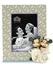 Enesco Disney Traditions by Jim Shore Mickey and Minnie Mouse Wedding Photo Picture Frame, 7.25 Inch, Multicolor