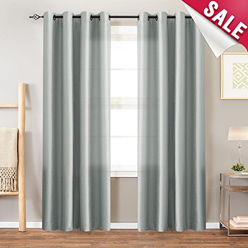 Faux Silk Satin Curtains for Bedroom 84 inches Long Window Panels for Living Room Light Reducing Dupioni Drapes Privacy Window Treatment Set, Grommet Top, Grey, 1 Pair - Drapes Pair