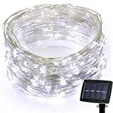 HighlifeS 200 LED Copper Wire Lights, Starry String Lights, Indoor Outdoor Waterproof Solar Decoration Lights for Gardens, Home, Dancing, Party Decorative Ornaments (White)