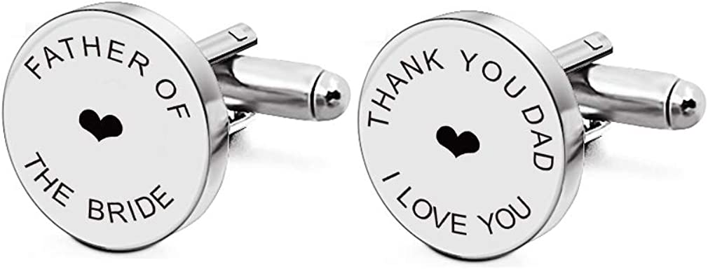 Men's Custom Gift for Him Father of The Bride Gifts for Dad Mens Engraved Cufflinks Tie Clip Sets