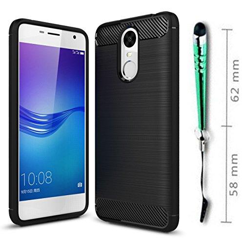 Funda Para Huawei Enjoy 6 Fibra de Carbon Súper Silicona Carcasa Fundas Protectora con Shock- Antideslizante Funda -Gris Negro
