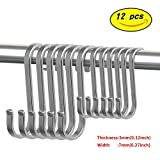 S Shaped Heavy Duty Hooks - 12 pcs S Hooks Hooking 304 Stainless Steel for Kitchen Bathroom,Office, Wardrobe,Storage Room,Workshop
