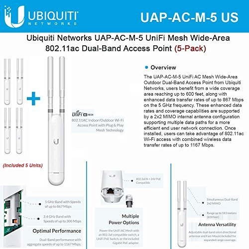 Ubiquiti UAP-AC-M-5 UniFi Mesh Wide-Area 802.11ac Dual-Band Access Point (5-Pack) by Ubiquiti Networks