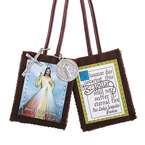 CB Catholic Christian Divine Mercy Jesus Christ Scapular W/Medals Our Lady's Scapular Promise ()