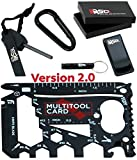 37 in 1 Wallet Multitool Card Gift Set v2.0 – Black Edition | EDC Multi-purpose Survival Card Pocket Tool (Credit Card Tool Sized) + Other Gadgets for Men by smartRSQ