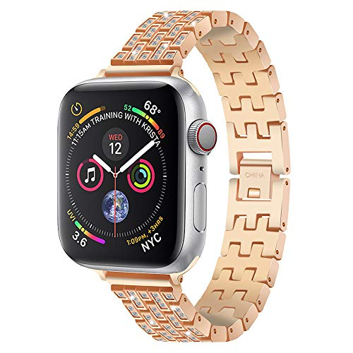Link Gold Curves (NXDA Stainless Steel Replacement Crystal Diamond Rhinestone Metal With Crystal Link Cuff Bracelet Wristband For iWatch Series 4 40mm/44mm (40mm, Rose Gold))
