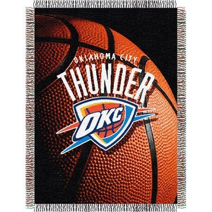 Officially Licensed NBA Oklahoma City Thunder Photo Real Woven Tapestry Throw Blanket, 48