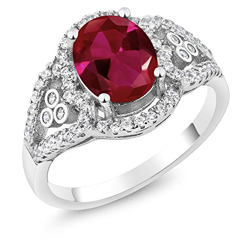 Gem Stone King 2.40 Ct Oval Red Created Ruby 925 Sterling Silver Women's Ring (Size 6)