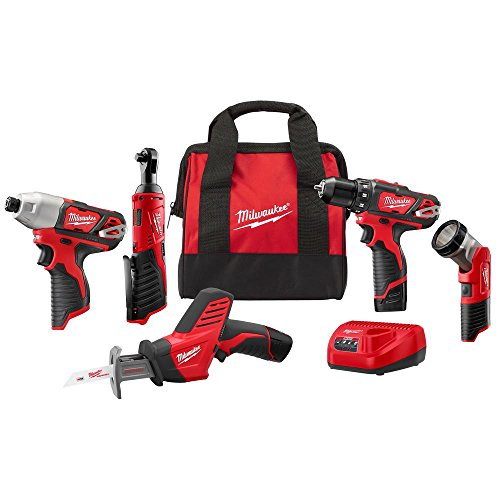 - Milwaukee 2498-25 M12 12-Volt Lithium-Ion Cordless Combo Kit (5-Tool) with (2) 1.5Ah Batteries, Charger and Tool Bag