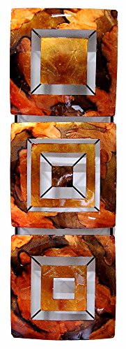 Heather Ann Creations 3 Geometric square Panels Metal Hanging Wall Art, 24.8H x 7.9W, CopperRedGold