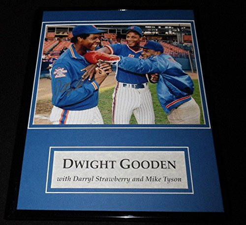 Dwight Gooden Signed Framed 11x14 Photo Display w/Mike Tyson & D Strawberry - Autographed Boxing Photos