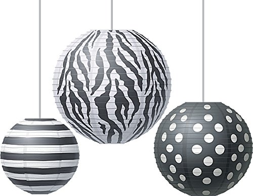 Teacher Created Resources Round Paper Lanterns, Big Bold Black and White (77101)