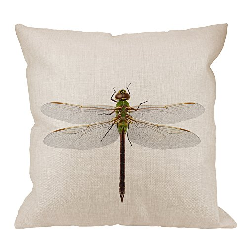 HGOD DESIGNS Dragonfly Pillow Cover,Decorative Throw Pillow Green Darner Dragonfly Isolated with Clipping Path Pillow cases Cotton Linen Square Cushion Covers For Home Sofa couch 18x18 inch Green