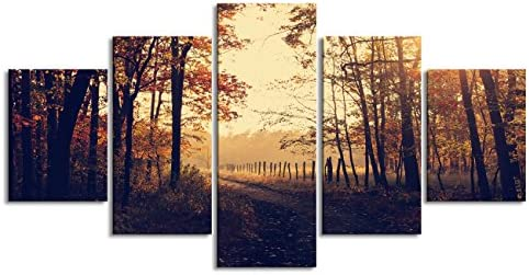 Yatsen Bridge Modern Autumn Canvas Painting for Living Room Prints and Posters Trees Forest Sunrise Fall Leaves Pictures Birthday Gifts Stretched and Framed Ready to Hang for Bedroom 60 W x 32 H
