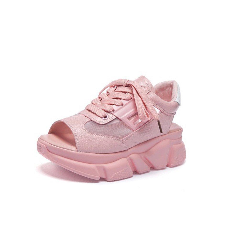 Frauen Schuhe Mikrofaser Sommer Komfort Sandalen Atmungsaktive Wanderschuhe Plattform Peep Toe Fuuml;r Casual Weiszlig;, Schwarz, Rosa  37 EU|B
