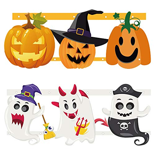 Funarty 2pcs Halloween Bunting Decoration Outdoor (1pcs Ghost Bunting + 1pcs Pumpkin Bunting) -
