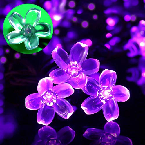 SEMILITS Solar Powered String Lights Outdoor Waterproof 50LED Peach Blossom Xmas Decorations for Garden Patio Purple