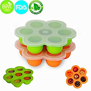 MerryMore Silicone Storage Container and Baby Food Freezer Tray with Lid Silicone Egg Bites Molds for 5/6/8qt Instant Pot- BPA Free, Premium 100% FDA Food Grade Silicone 2 Pack (Orange+Green)