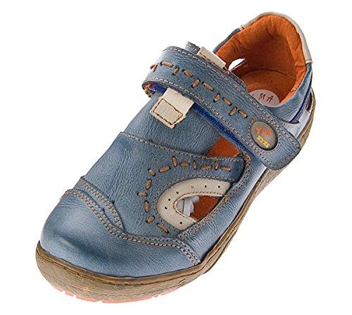 Leder Schuhe Damen Sandalen Halbschuhe TMA Sandaletten Klettverschluss  Schwarz Grün Blau Weiss im Used Look Blau