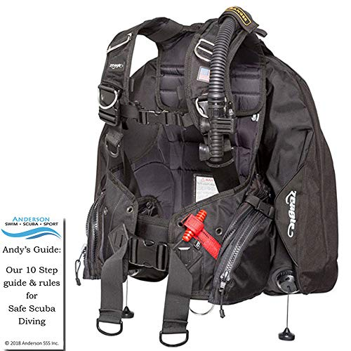 Zeagle Ranger BCD Black Size XLarge - Integrated Back-Inflation Buoyancy Compensator Ripcord Weight System Personal Fit Diving Bundle Andersons Scuba Safety Guide ()