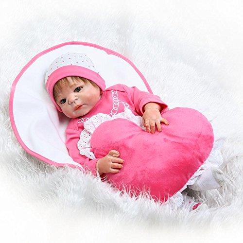 icradle Realistic Looking 23インチ57 cmフルソフトシリコンRebornベビーピンクガールズ人形Life Likeハンドメイド新生児Dolls解剖学的に正しい幼児用おもちゃクリスマスギフトWashable 3.3 LBS   B07BSC84LQ