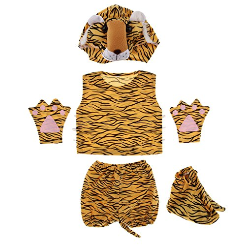 Prettyia Kids Animal Costume Set Giraffe Frog Cow Rabbit Bee Hat Top Shorts Gloves Shoes Party Halloween Dress up Unisex Outfit - Tiger by Prettyia