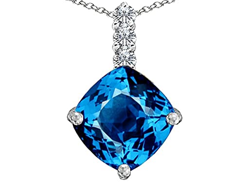 Star K Sterling Silver Large 12mm Cushion Cut Pendant Necklace