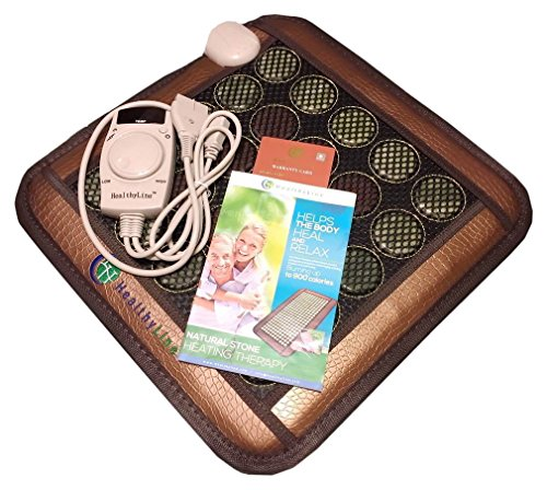 """HealthyLine Natural Jade & Tourmaline, Negative Ions/FIR/Far-infrared/Multi Heat & Energy Therapy Healing Pad Mesh, 18"""" L X 18"""" W"""