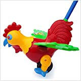 eonkoo Walking Education Hand Pushing Pull Rooster Toy Walker For Toddler