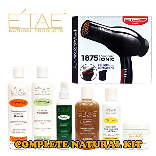 Etae Shampoo, Conditioner, Treatment, Buttershine, Gloss, Nutrient (6 items) with Red by Kiss 1875 Ceramic Ionic Blow Dryer by E'TAE Natural Products