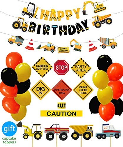 Construction Birthday Party Supplies Dump Truck Party Decorations Kits Set for Kids Birthday Party 51 pack ()