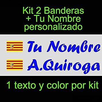 Vinilin - Pegatina Vinilo Bandera Aragon + tu Nombre - Bici, Casco, Pala De