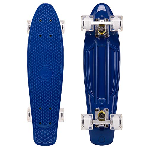 Cal 7 Complete Mini Cruiser | 22 Inch Micro Board | Vintage Skateboard for School and Travel (Midnight)