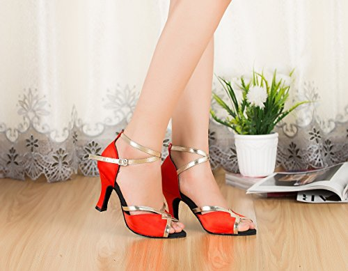 Dance Shoes Miyoopark Stylish Satin Red Peep Wedding Sandals Salsa Latin Performance Heel Prom Women's 8cm Toe xS0xqwA8