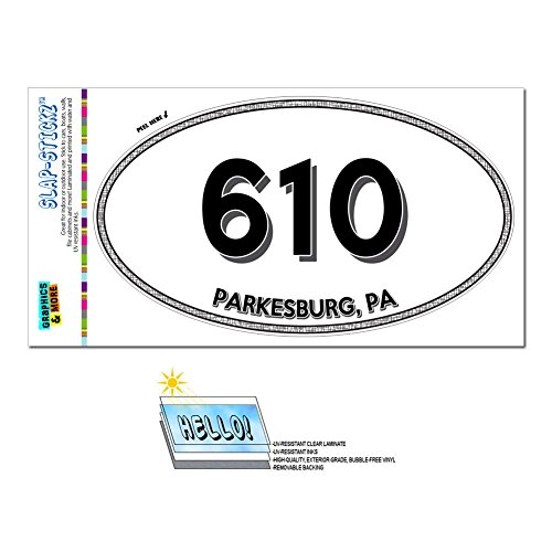 Graphics and More Area Code Oval Window Laminated Sticker 610 Pennsylvania PA Lionville - Salford - Parkesburg