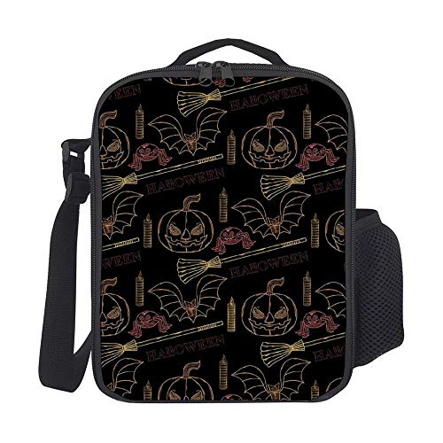 SARA NELL Halloween With Themed Elements Kids Lunch Box Insulated Lunch Bag Large Freezable Lunch Boxes Cooler Meal Prep Lunch Tote with Shoulder Strap for Boys Girls]()