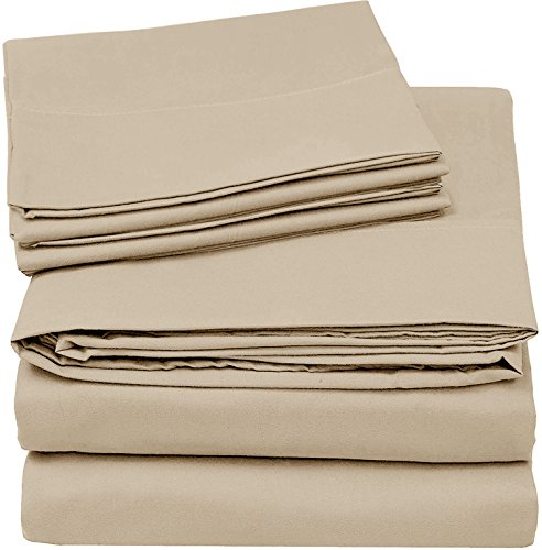 Utopia Bedding 4-Piece Queen Bed Sheet Set - Soft Brushed Microfiber Wrinkle Fade and Stain Resistant - Beige