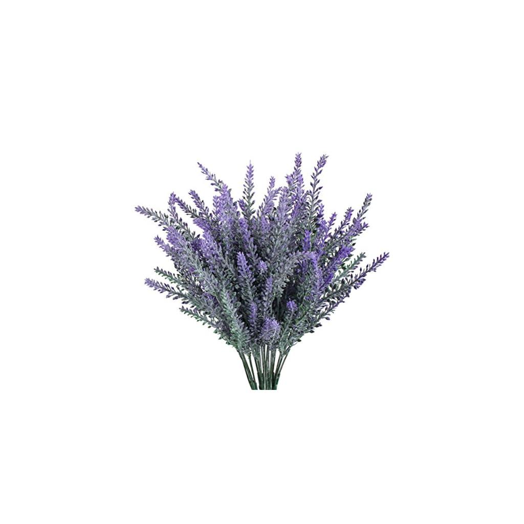WINOMO 4pcs Artificial Flocked Lavender Bouquet Purple Flowers Bridal Home Garden Wedding Decor