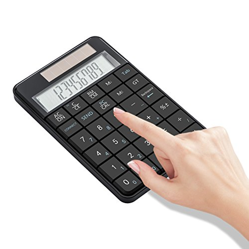 I Focus 2 in 1 Wireless Numeric Keypad with Calculator Function, USB Financial Accounting Numpad Solar Power 29 keys Number Pad for Laptop Desktop PC Windows XP by I Focus (Image #1)