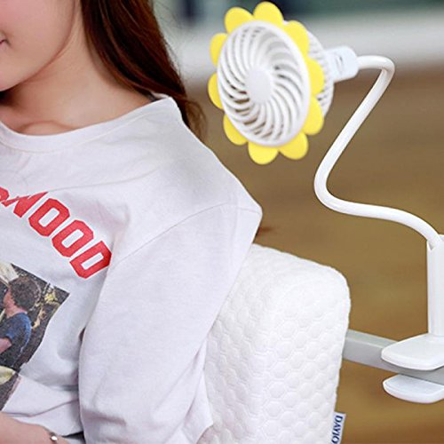Fashion Portable Micro USB Fan With Bendable Clip Adjustable Sunflower Shape Rechargeable Cooling Mini Clip Fan For Home Office Travel by Boens (Image #3)