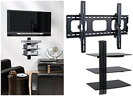 Amazoncom 2xhome Tv Wall Mount With Shelf Up To 85 Inches Tv