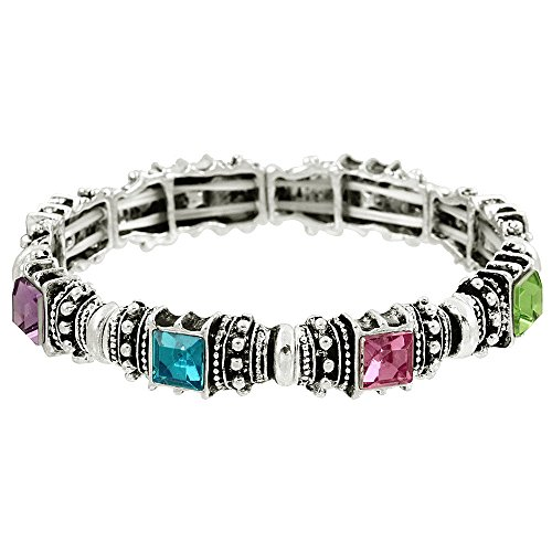 Falari Vintage Acrylic Crystal Antique Silver Stretch Bracelet Light Multi - Topaz Multi Crystal