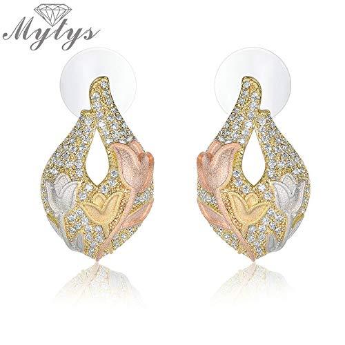Pave Setting Zircon Tulips Flower Pattern Enamel Stud Earrings for Women Graceful Jewelry Girls Fashion Ce444