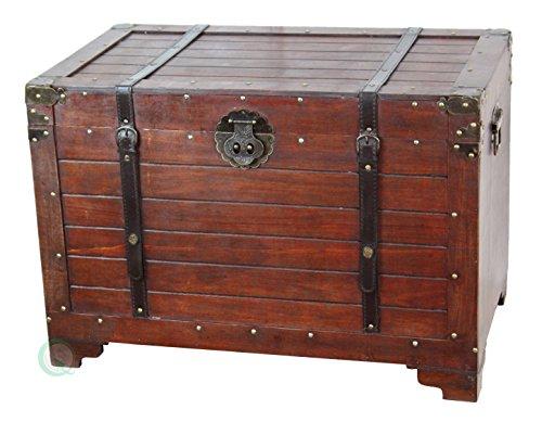 Vintiquewise(TM) Old Fashioned Wooden Storage Treasure Trunk - Steamer Storage Trunk